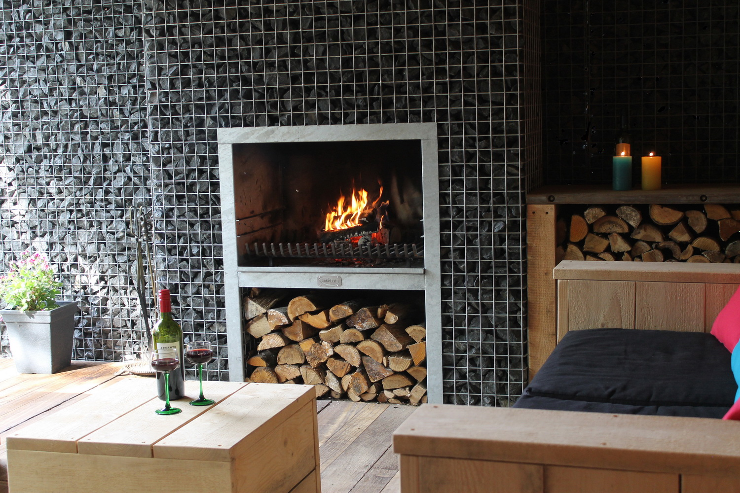 customized fireplace with scaffolding wood