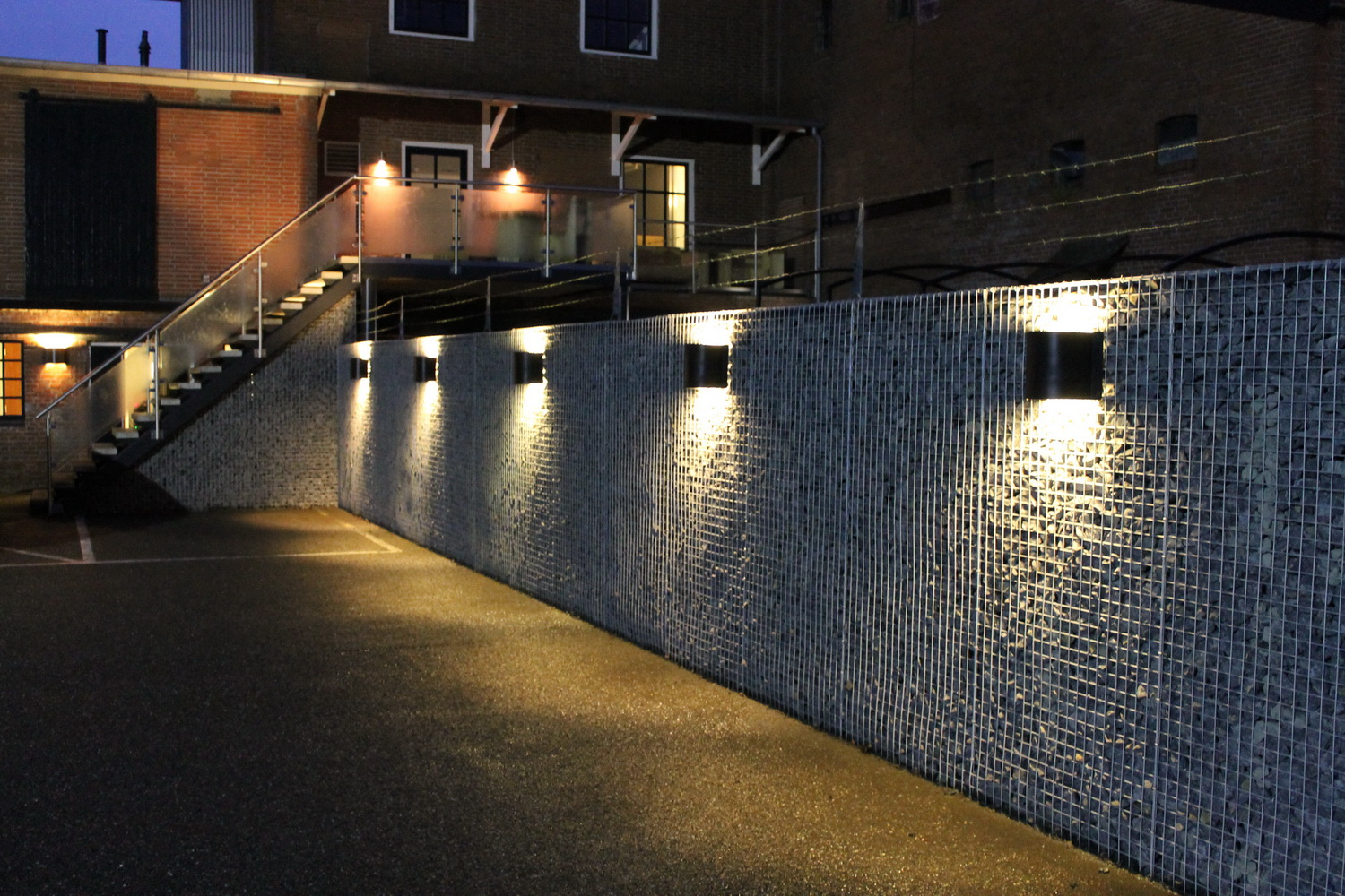 Gabions with light