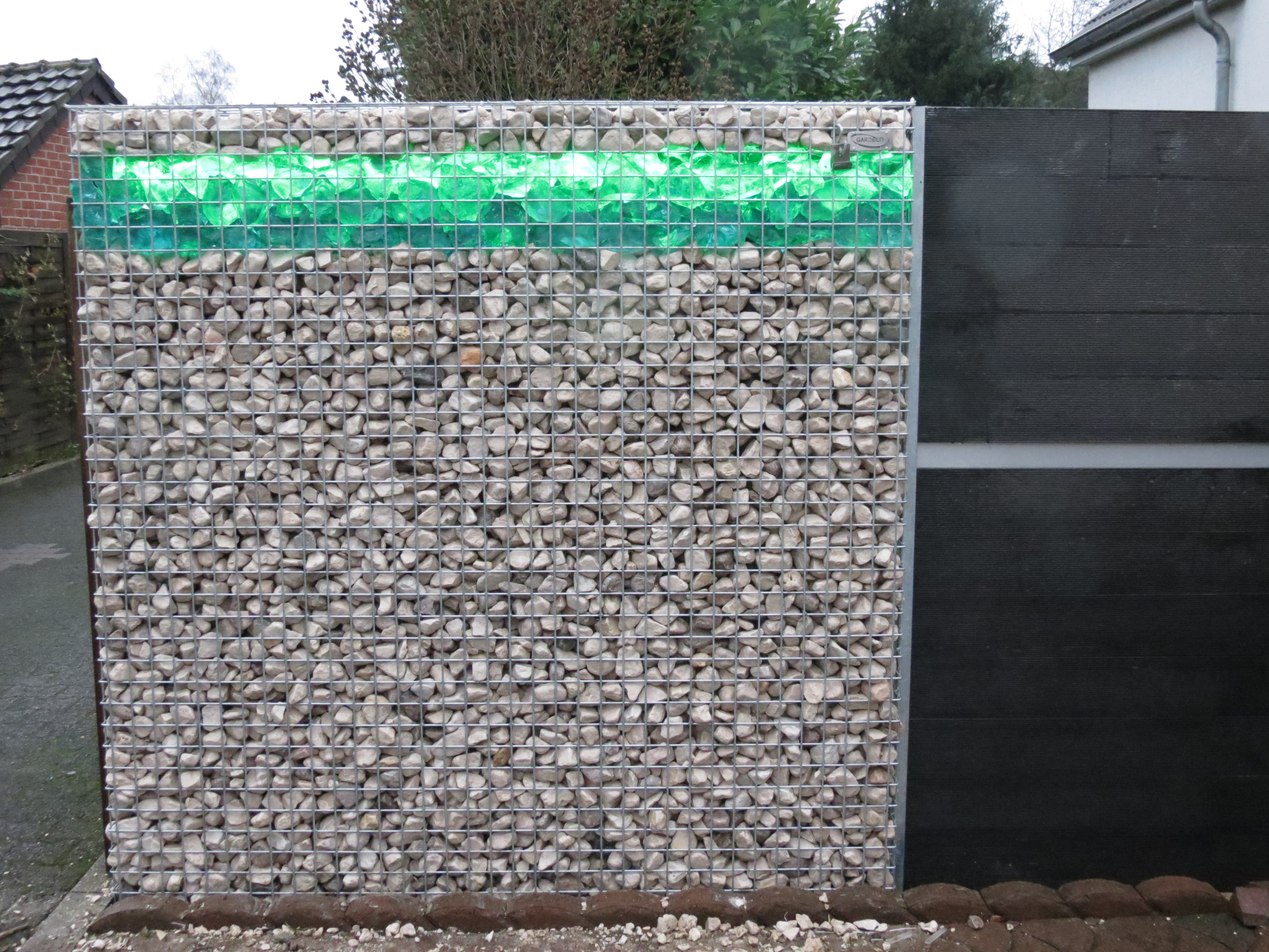 Gabions with LED and WPC