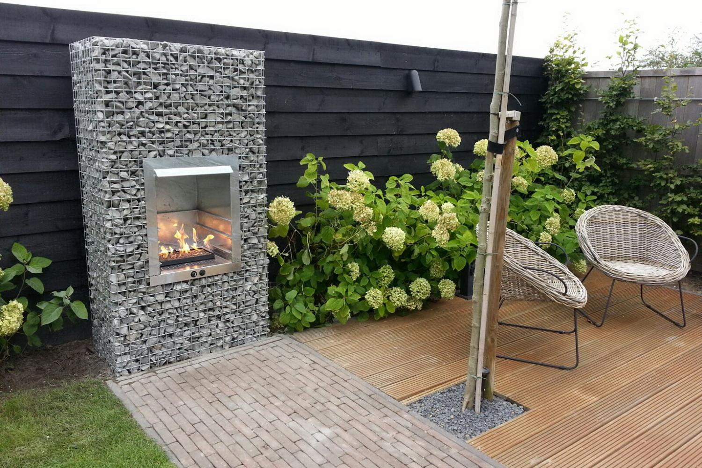 Gabion garden fireplace with gas
