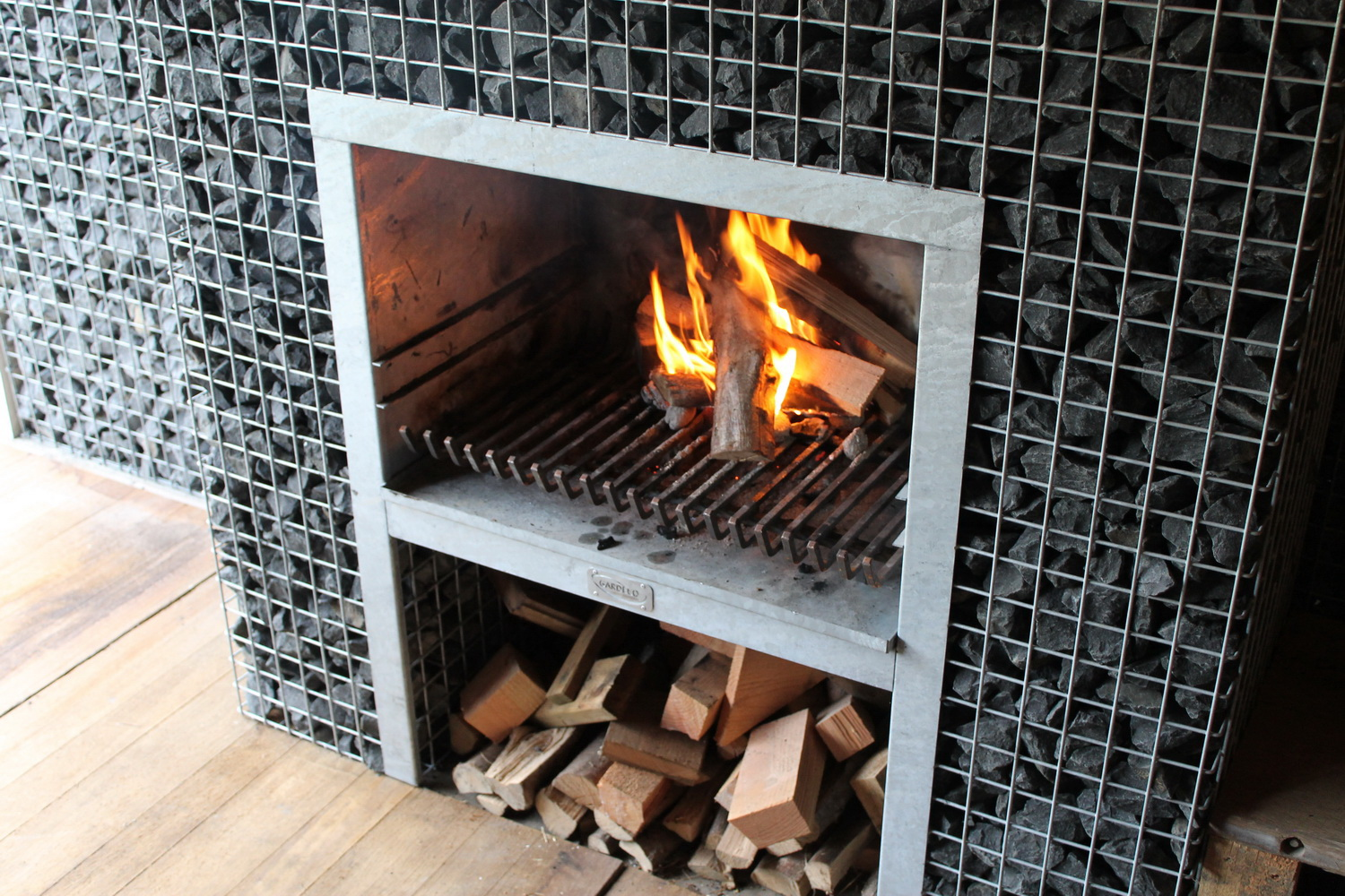 customized fireplace with wood