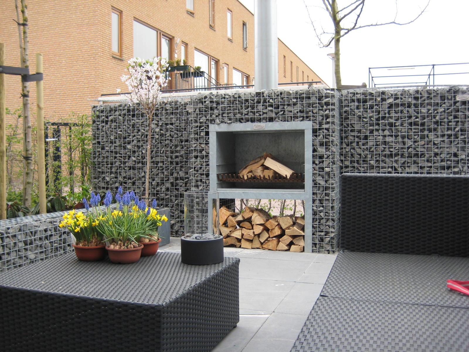 Gabion block fireplace BBQ