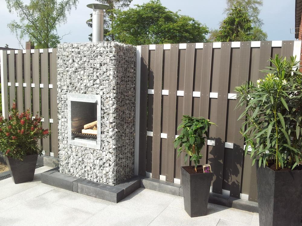 Gabion garden fireplace bbq