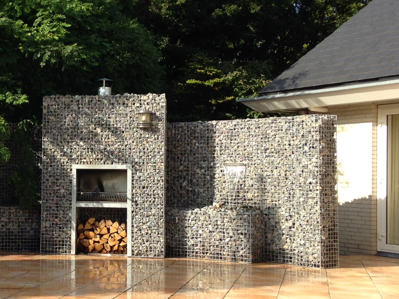 Garden fireplace with waterfall
