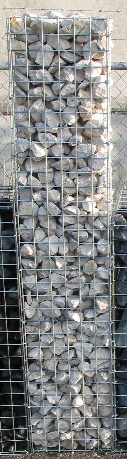 Gabion Column filled with Yellow Sun